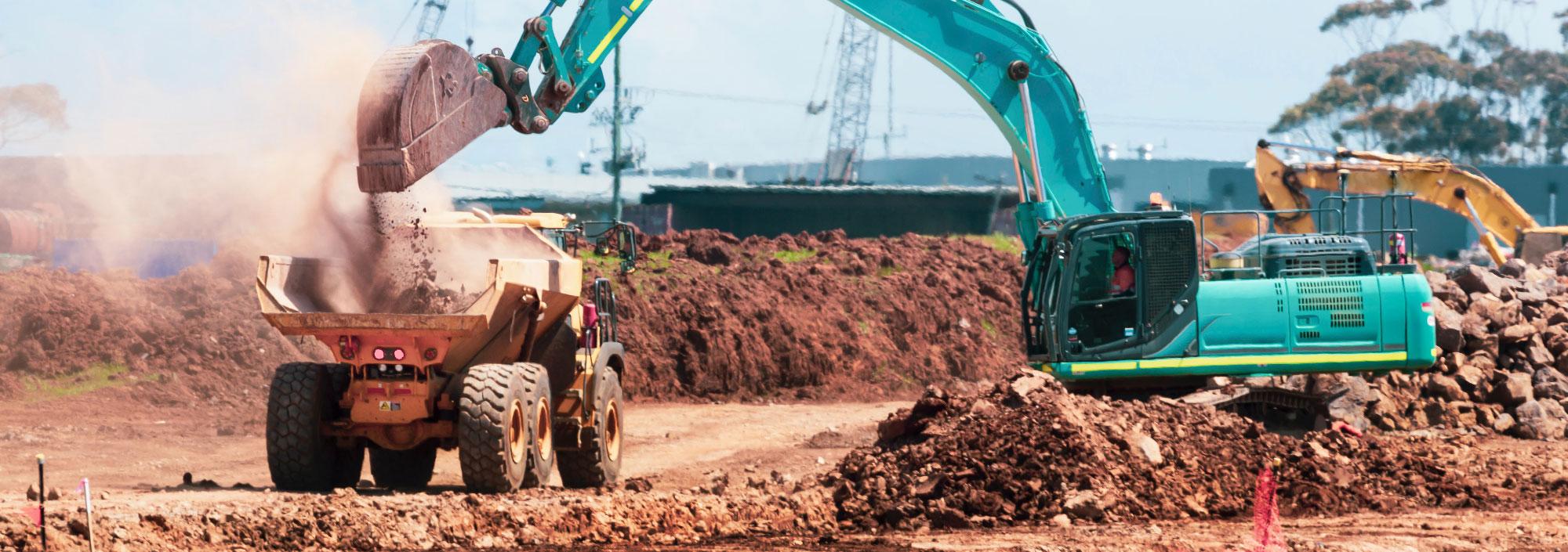 Roads construction site